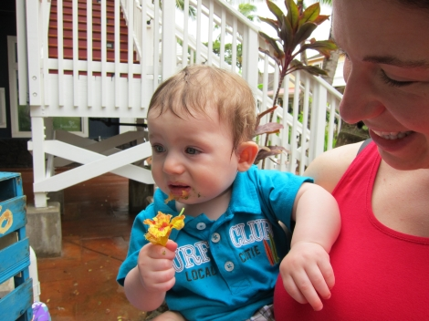 Eating a nasturtium at the farmer's market in Kaua'i.