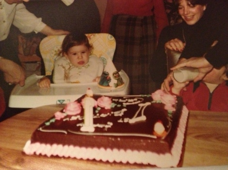 Me, circa 1980, about to have my first taste of glorious, cakey goodness.