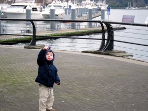 Out for a walk, sans diapers, to watch the seaplanes taking off and landing.