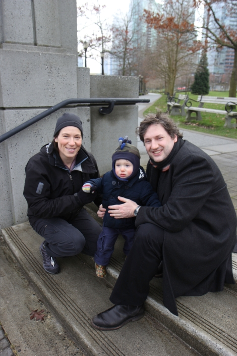 Out for a family stroll in the neighbourhood, circa January 2013.