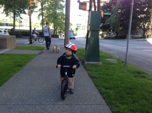 Oliver's first time on his new bike.