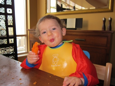 Eleven-month-old Oliver enjoys some steamed carrots.
