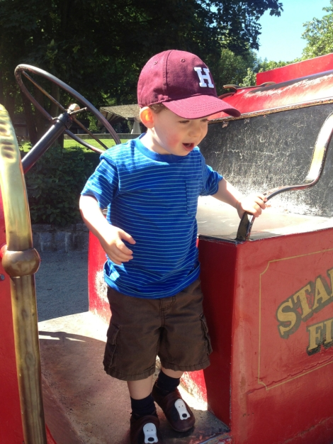 Next, we went to the Ceperley Playground in Stanley Park. Oliver enjoyed climbing all over the vintage fire truck.