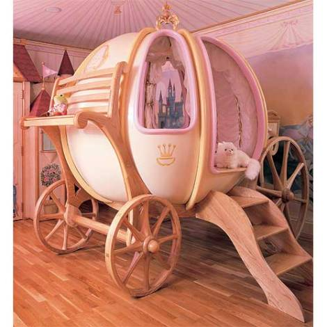 "If you have $65K to spare, your little princess could be lulled to sleep in this ""Fantasy Coach"" bed. Alternatively, a $100 toddler bed from IKEA will give you the same results. Source: http://www.poshtots.com/baby-furniture/posh/ultimate-posh/fantasy-coach/18/1376/1360/927/poshproductdetail.aspx"