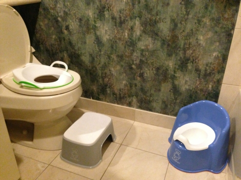 Oliver's bathroom, set up so as to be conducive to learning potty independence.